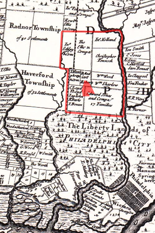 A portion of a 1687 map showing property lines in Philadelphia and surrounding area.
