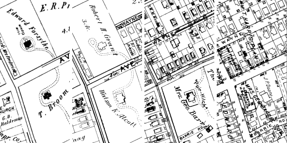 Four maps of a block in Narberth 1896-1948