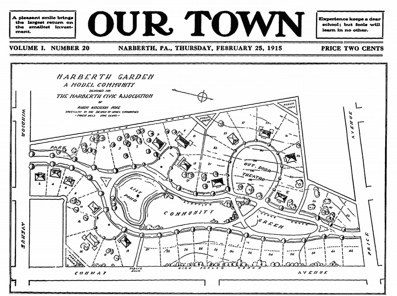 Front page of Our Town advertises 'Narberth Gardens, a model Community' designed for the Narberth Civic Association', with a map of its layout