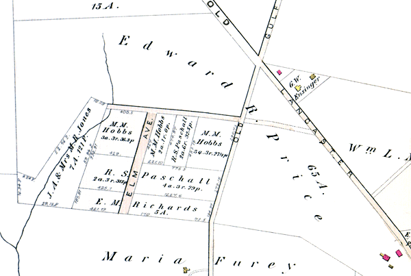 The lot owners are listed as M. M. Hobbs, R. S. Paschall and E. M. Richards. Elm Ave. is shown where Essex Ave. is today.